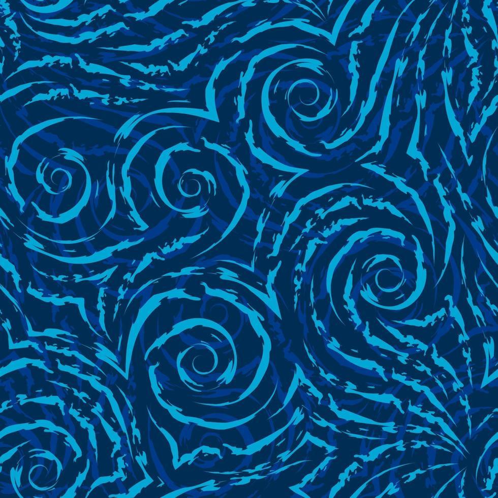 Vektor nahtloses Muster der türkisfarbenen Spiralen von Linien und Ecken auf einem blauen Hintergrund. Textur von fließenden Formen und Linien mit gerissenen Kanten.