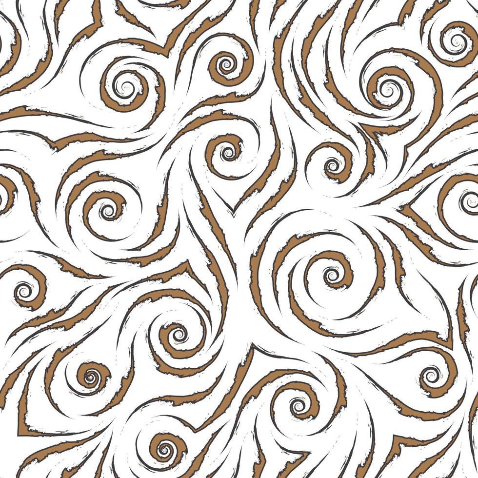 stock nahtloses Vektormuster von braunen fließenden Linien mit zerlumpten Kanten mit schwarzem Strich lokalisiert auf einem weißen Hintergrund vektor