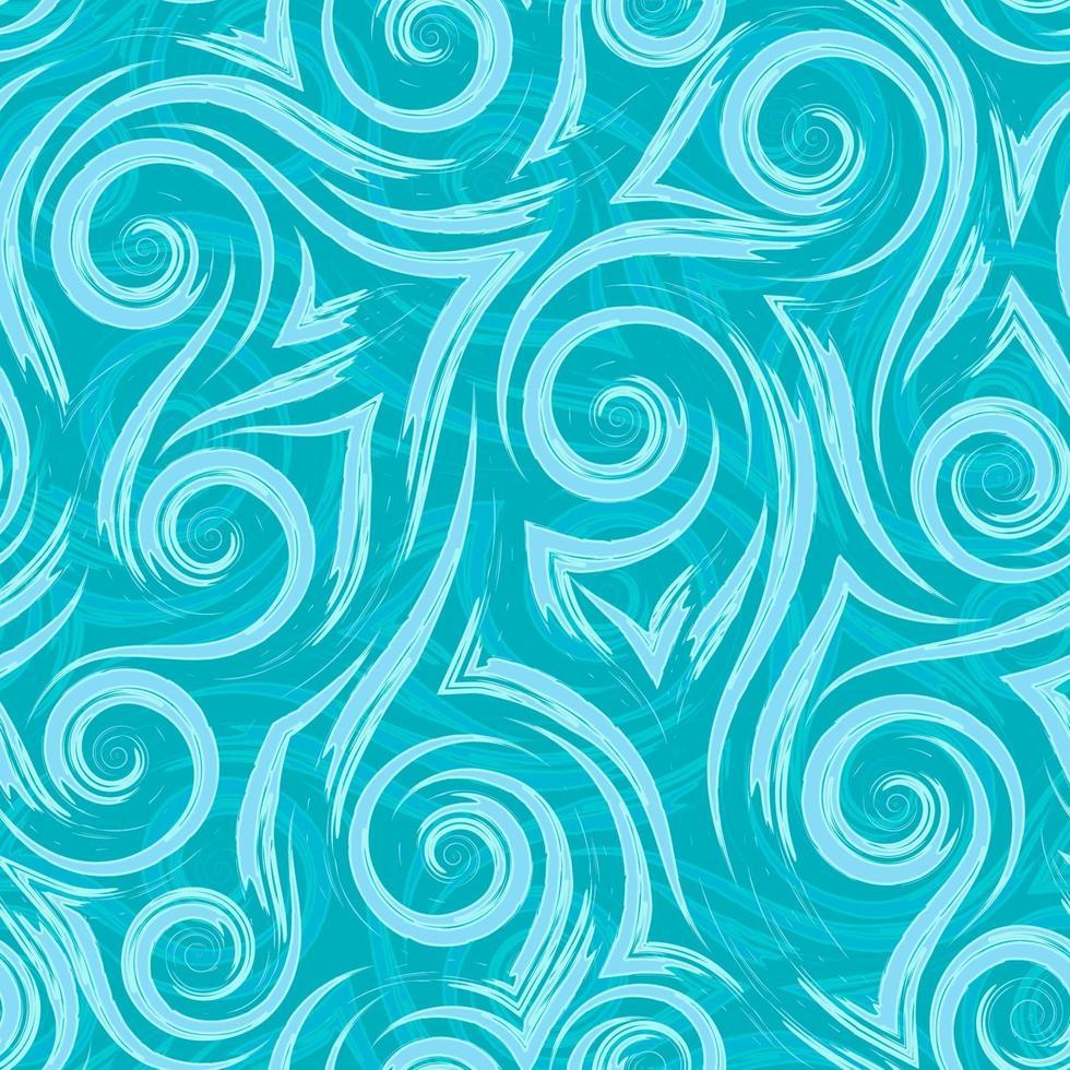 türkisfarbene ungleichmäßige glatte Linien und Ecken auf einem nahtlosen Muster des hellen Hintergrundvektors. abstrakte Texturwellen oder wirbeln stilisierter Flüssigkeitsfluss. vektor