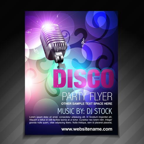 disco party flyer broschyr och affisch mall vektor