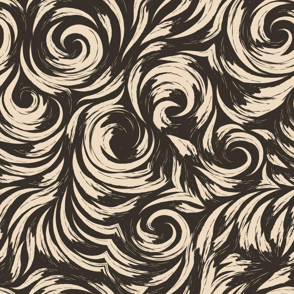 nahtloses Vektorbeige-Muster von glatten Linien in Form von Kreisen und Spiralen. braune Textur zum Veredeln von Stoffen oder Geschenkpapier auf dunklem Hintergrund. abstraktes Muster. vektor