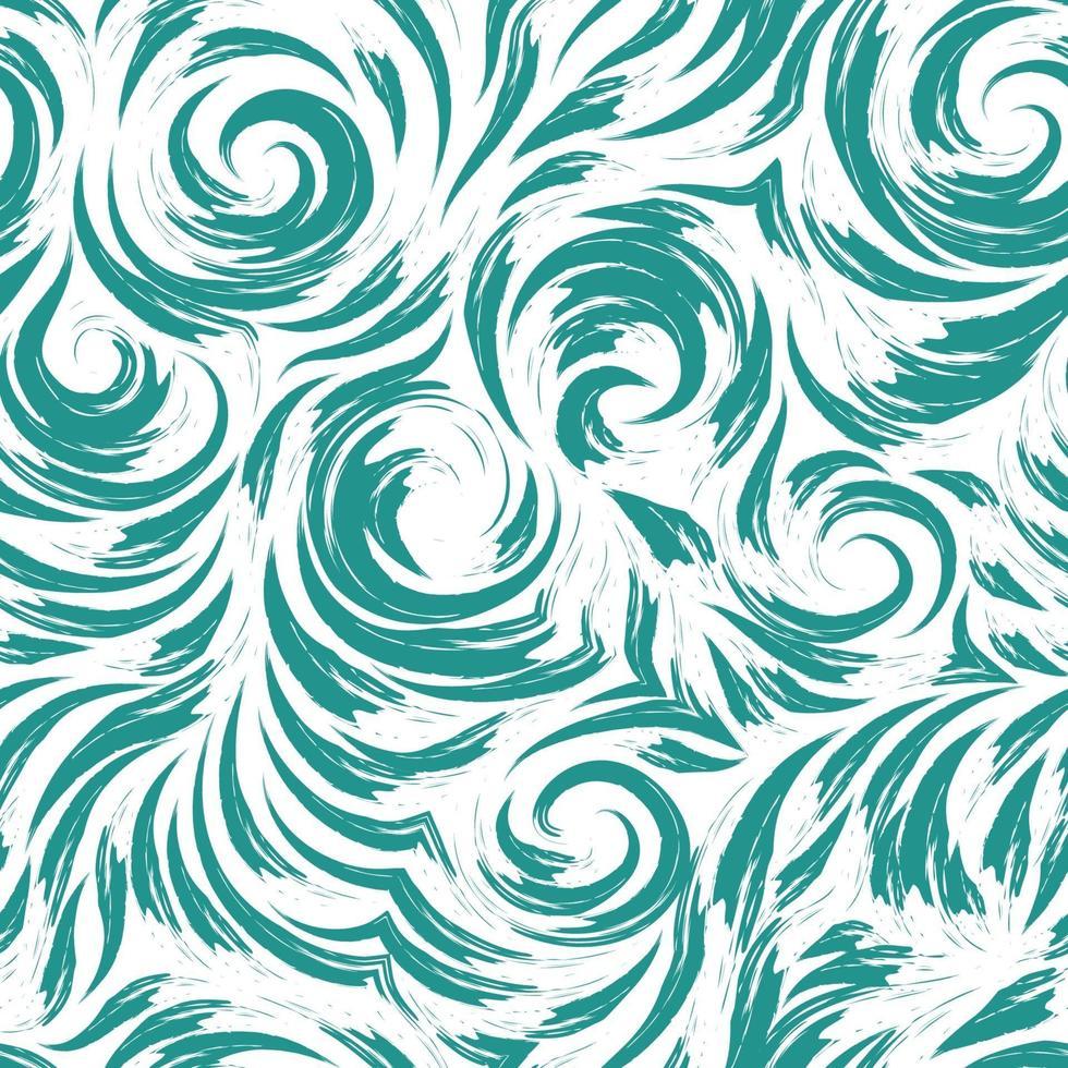 nahtloses Vektor-Türkis-Muster von glatten Linien in Form von Kreisen und Spiralen. Textur zum Veredeln von Stoffen oder Geschenkpapier in Pastellfarben auf weißem Hintergrund. Ozean und Wellen. vektor