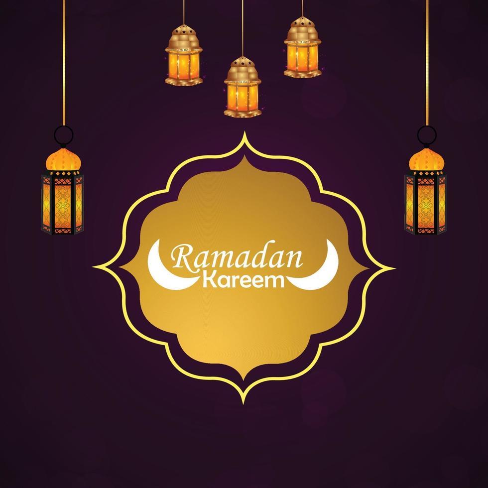 platt design av ramadan mubarak med gul lykta vektor