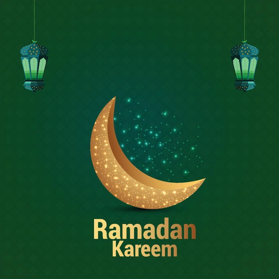 ramadan gyllene måne på grön bakgrund vektor