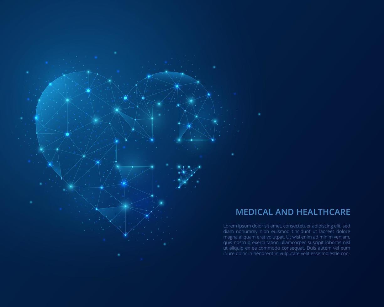 abstrakt polygonal trådram illustration av sjukvård. låg poly hjärta på blå bakgrund. vektor illustration.