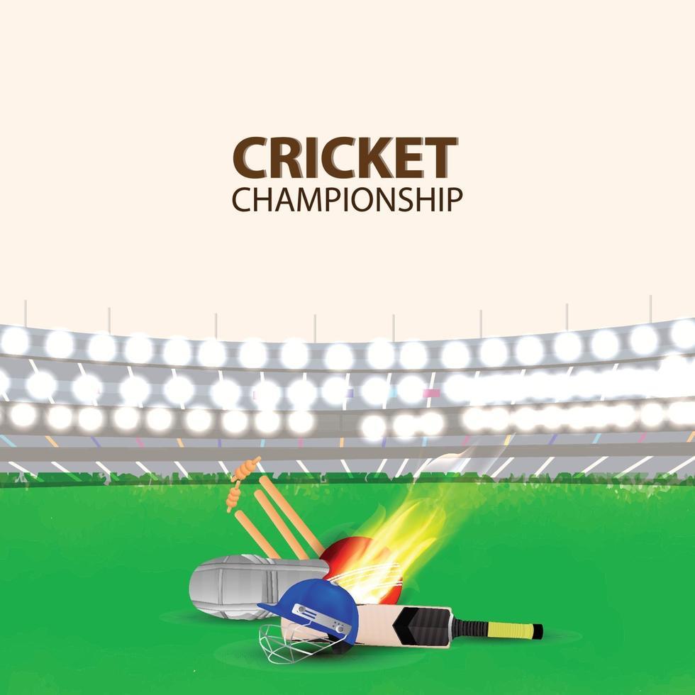 Cricket-Turnier mit kreativer Ausrüstung von Cricket mit Stadionhintergrund vektor