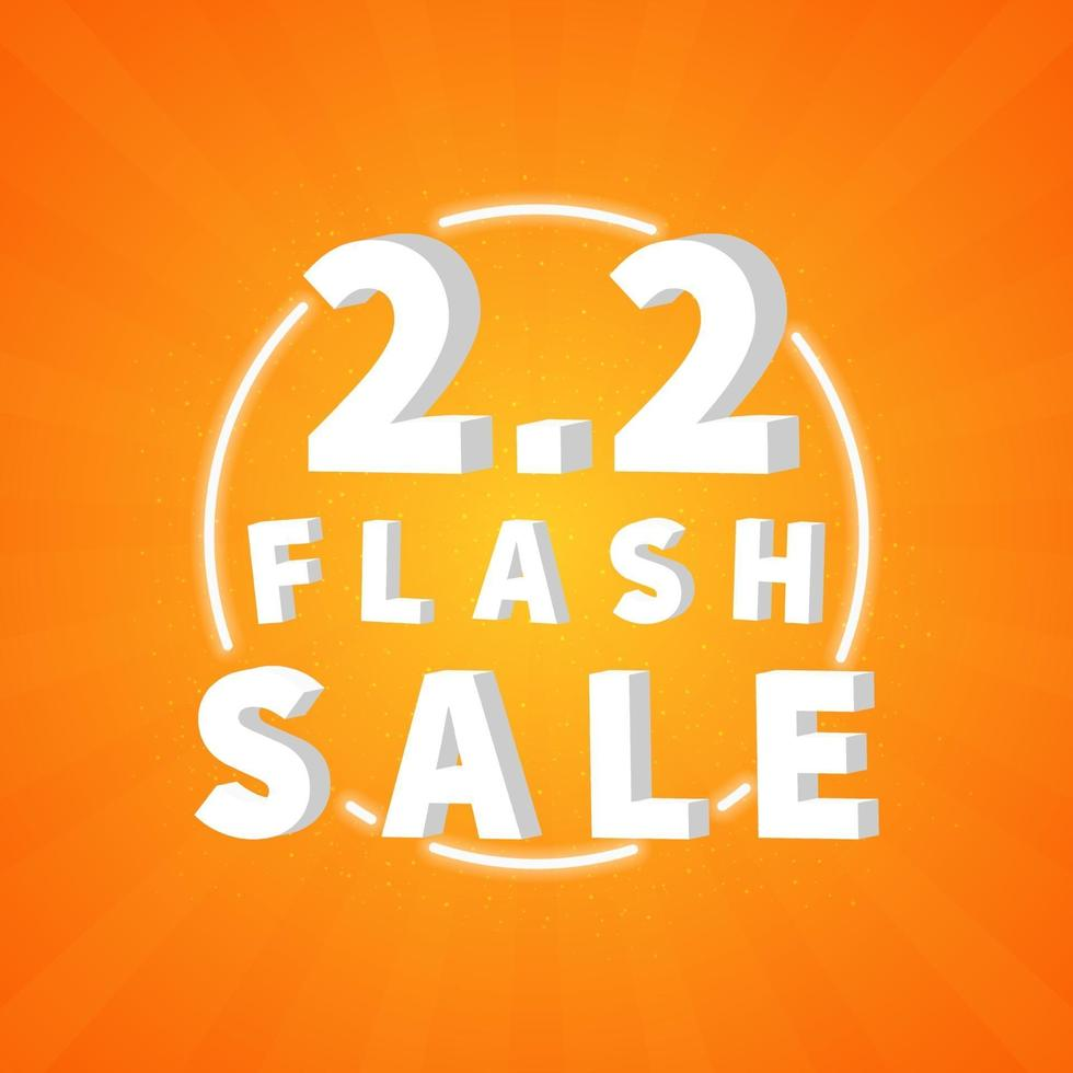 2.2 försäljning rabatt banner marknadsföring. trendig designmall för annonsering, sociala medier, affärer, modeannonser etc. vektorillustration. vektor