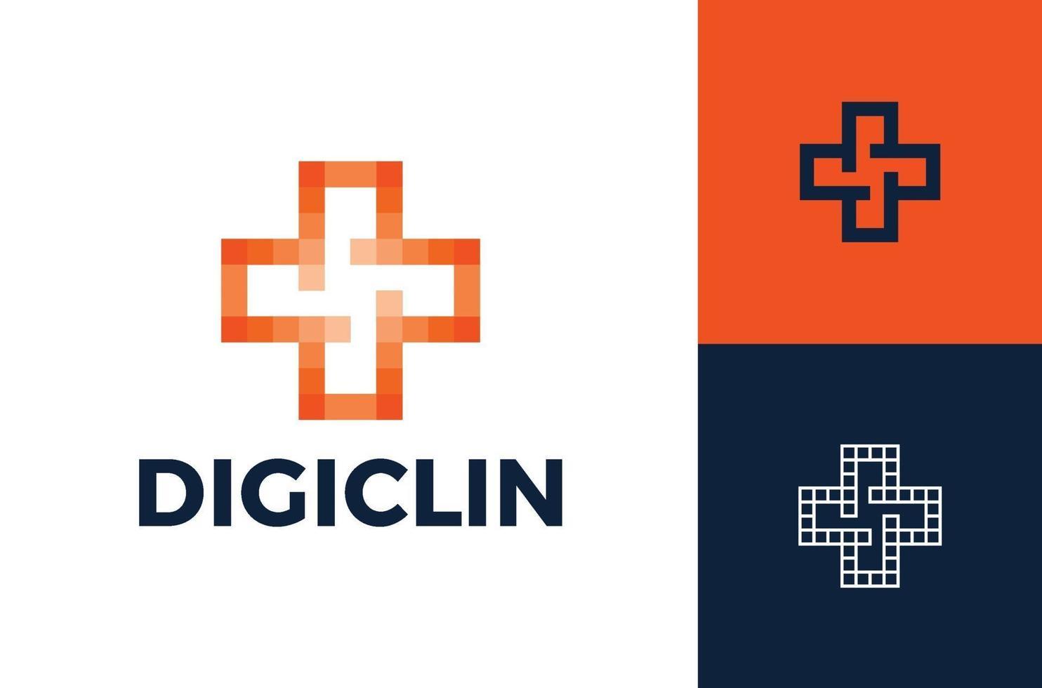 cross pixel medicinsk logotyp design modern mall. pixel hälsa logotyp design mall, medicinsk logotyp i modern stil vektor, teknik logotyp mall vektor