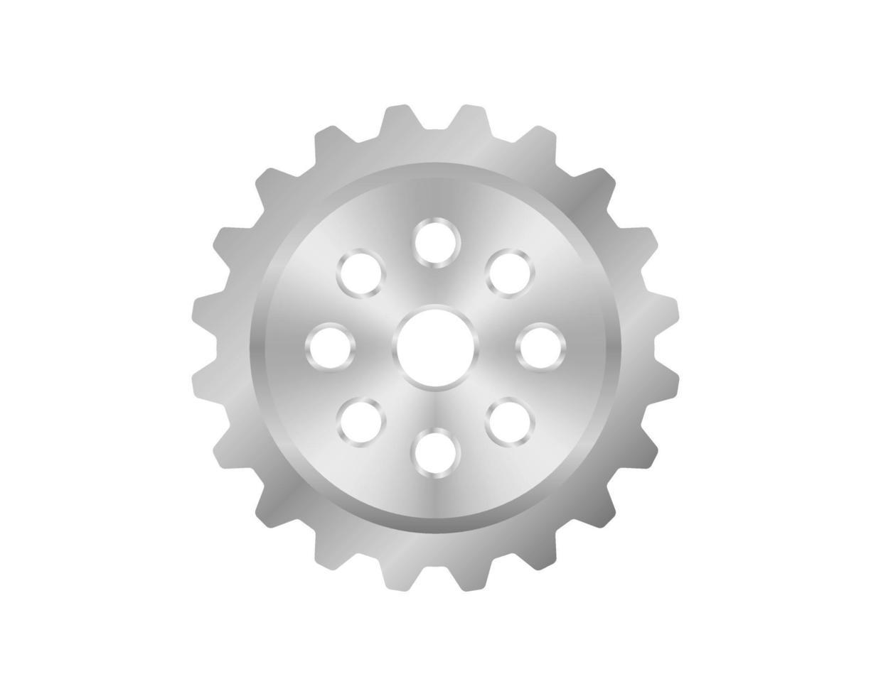 realistisches Zahnrad. poliertes Metall. industrieller Hintergrund. Vektorillustration. realistisches Zahnradsymbol lokalisiert auf weißem Hintergrund vektor