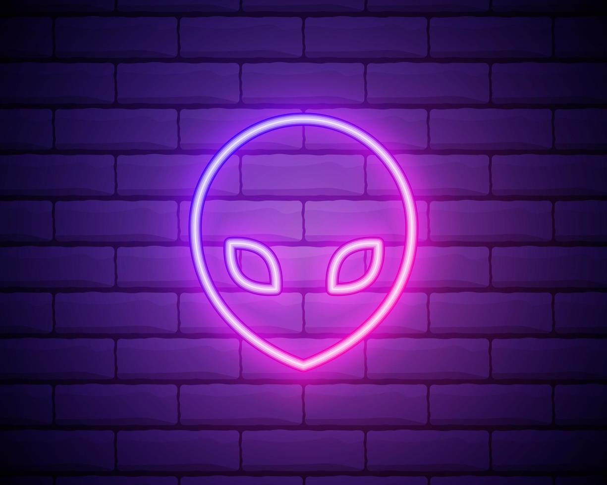 glödande neon främmande ikon isolerad på tegelvägg bakgrund. utomjordisk främmande ansikte eller huvudsymbol. vektor illustration