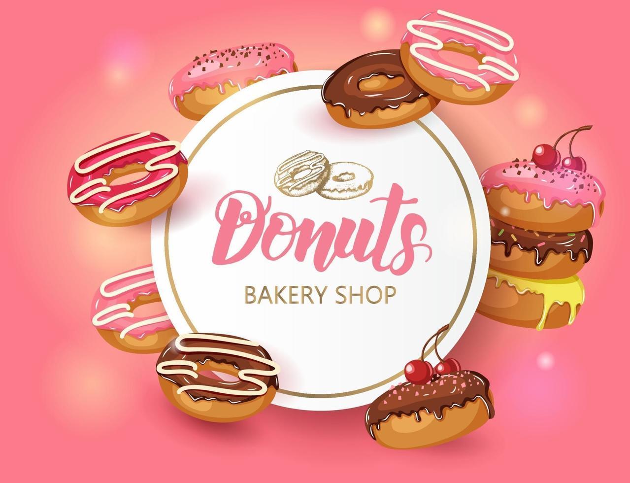 Vektor süßer Hintergrundrahmen mit glasierten Donuts mit Kirsche und Pulver. Wüstenplakat für Menü und Banner. Food Design