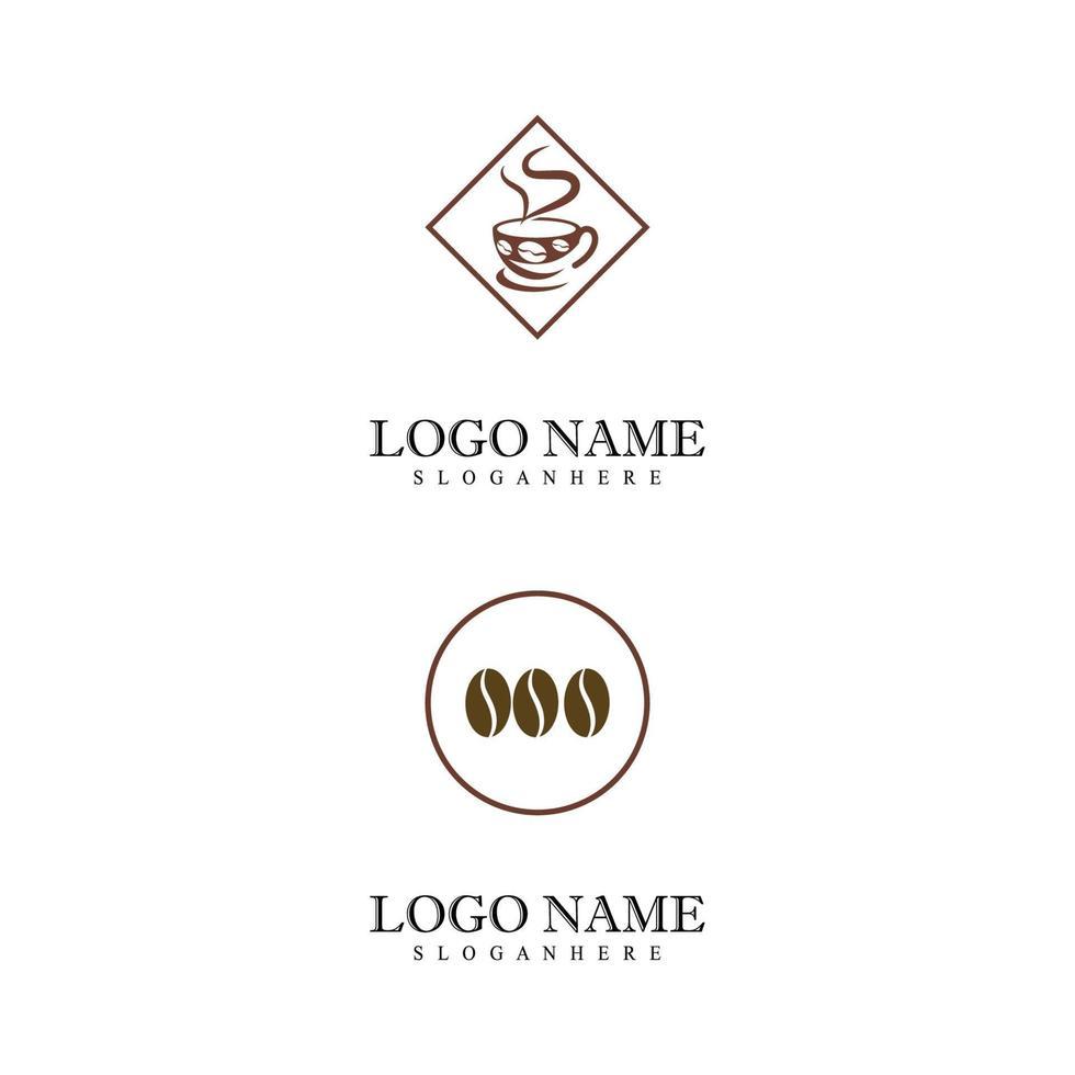 kaffekopp logotyp mall vektor ikon design