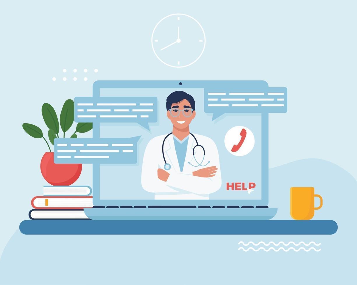 online läkarkonsultationskoncept vektor