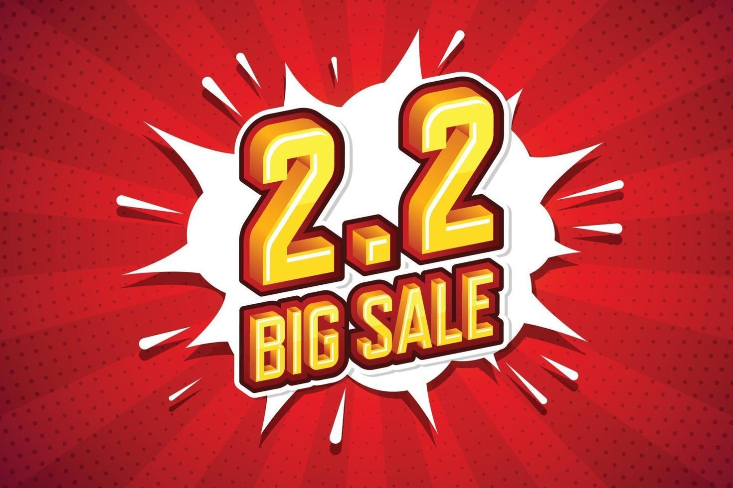 2.2 stor försäljning typsnitt uttryck popkonst komisk pratbubbla. vektor illustration