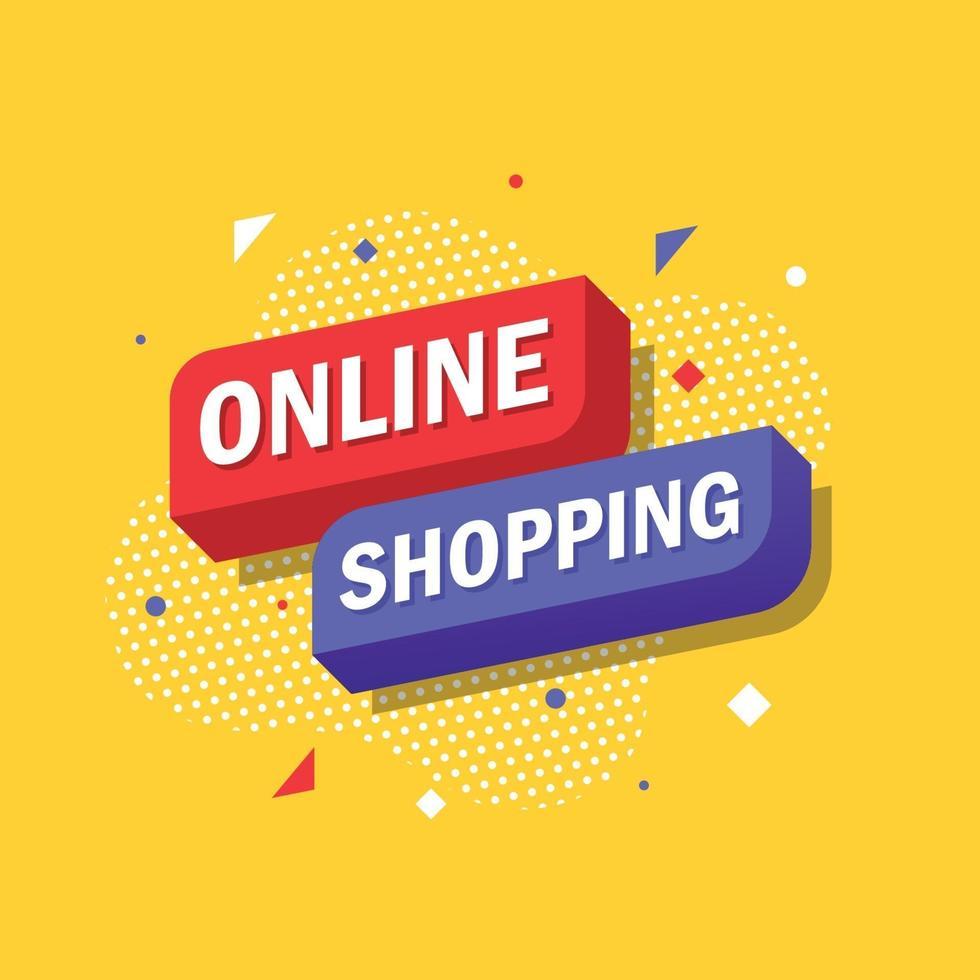 online shopping, marknadsföring popkonst banner design. vektor illustration