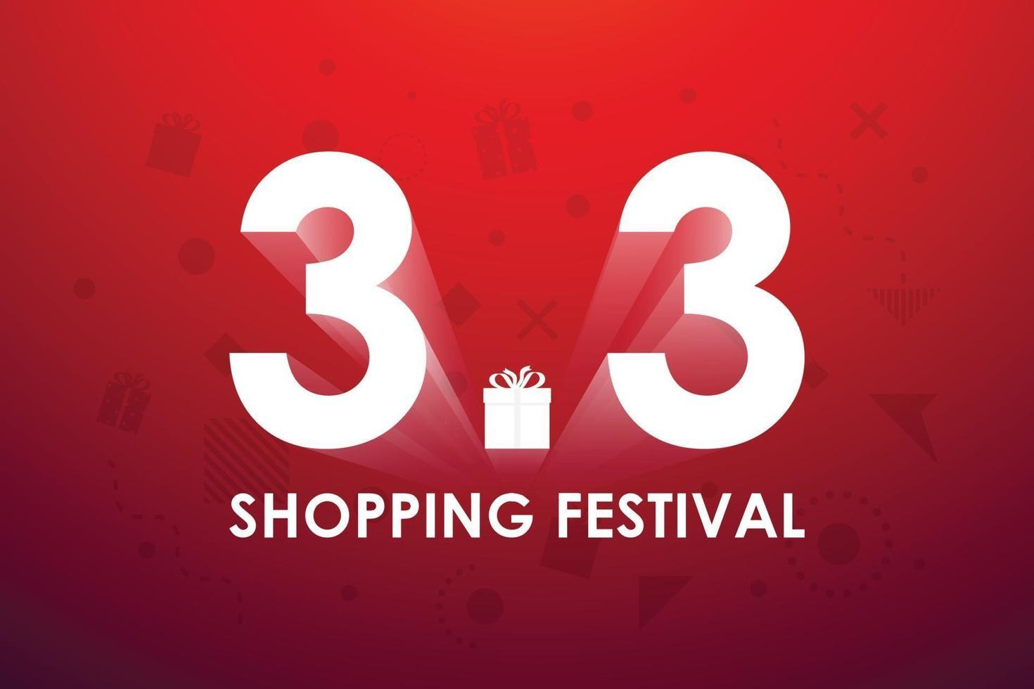3.3 shoppingfestival, tal marknadsföring banner design på röd bakgrund. vektor illustration