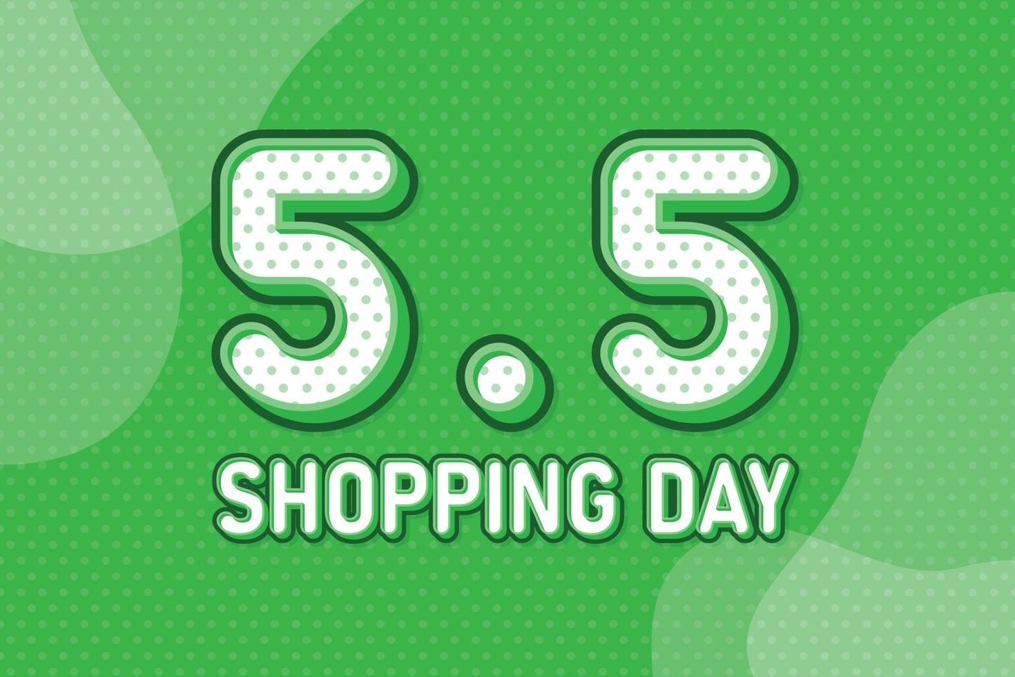 5,5 shoppingdag, banner för textmarknadsföring. pastell popkonst taldesign. vektor illustration