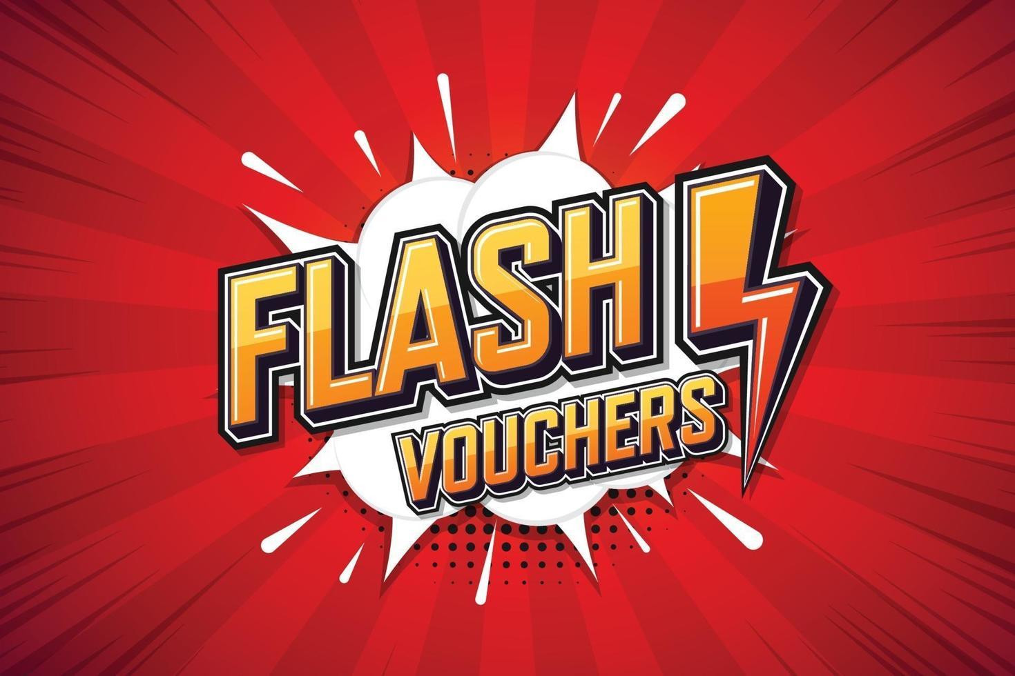 flashkuponger, talaffisch. textkonst online marknadsföringsdesign. uttryck popkonst pratbubbla vektor