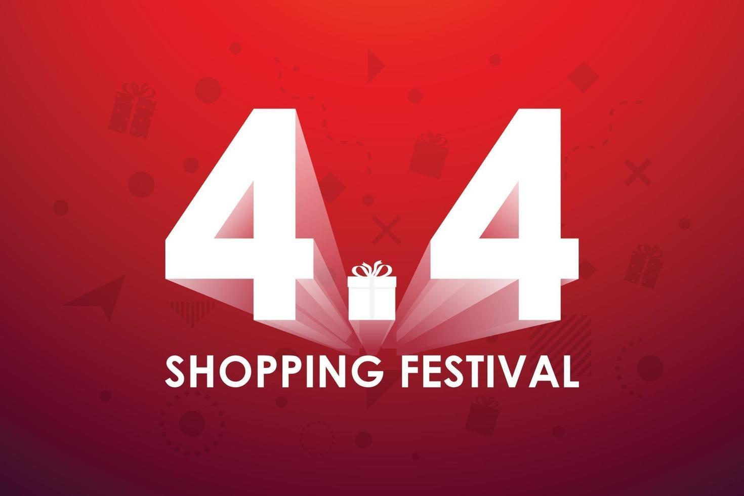 4.4 shopping festival, tal marknadsföring banner design på röd bakgrund. vektor illustration