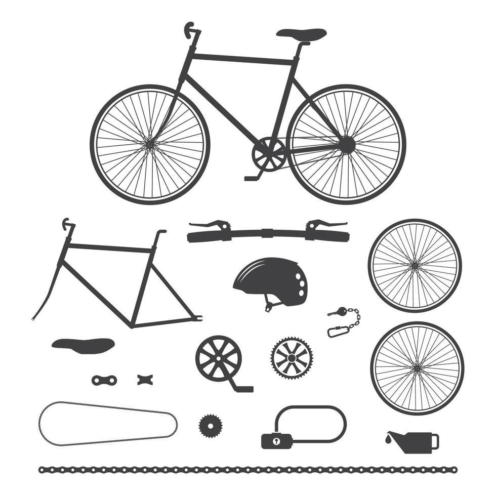 cyklar, ikoner för cykeltillbehör. vektor illustration