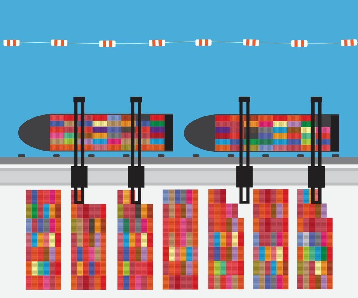 hamn med lastfartyg och containerterminal. vektor illustration