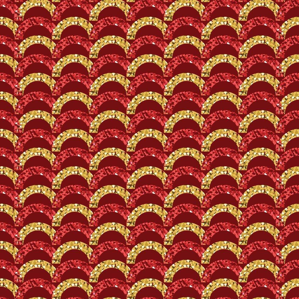 nahtloser roter chinesischer Neujahrsmusterhintergrund mit Glitzerkreisform vektor
