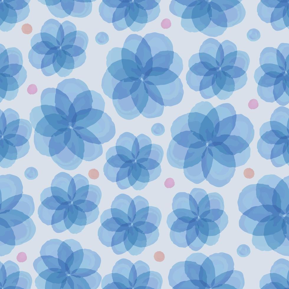 sömlös blå blommig med färgglad prickmönsterbakgrund vektor