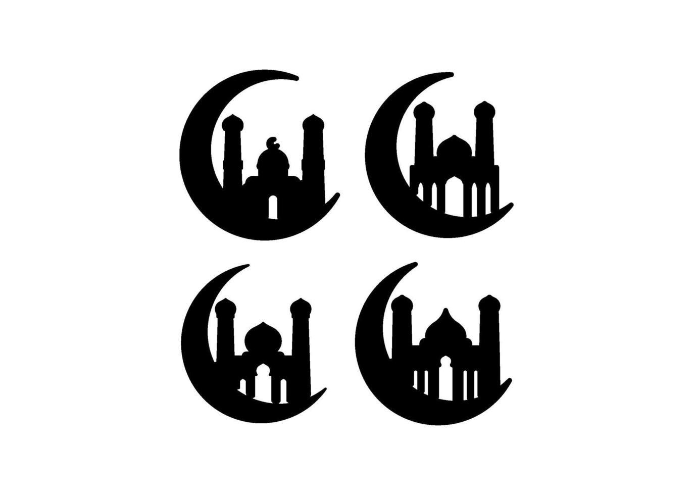 Moscheeikonenillustrationsvektorsatz vektor