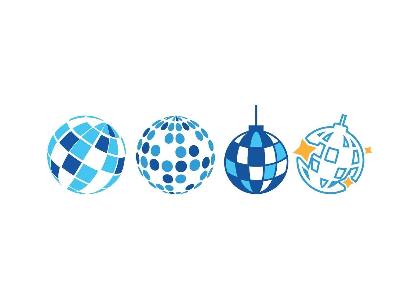 disco ball icon illustration vector set