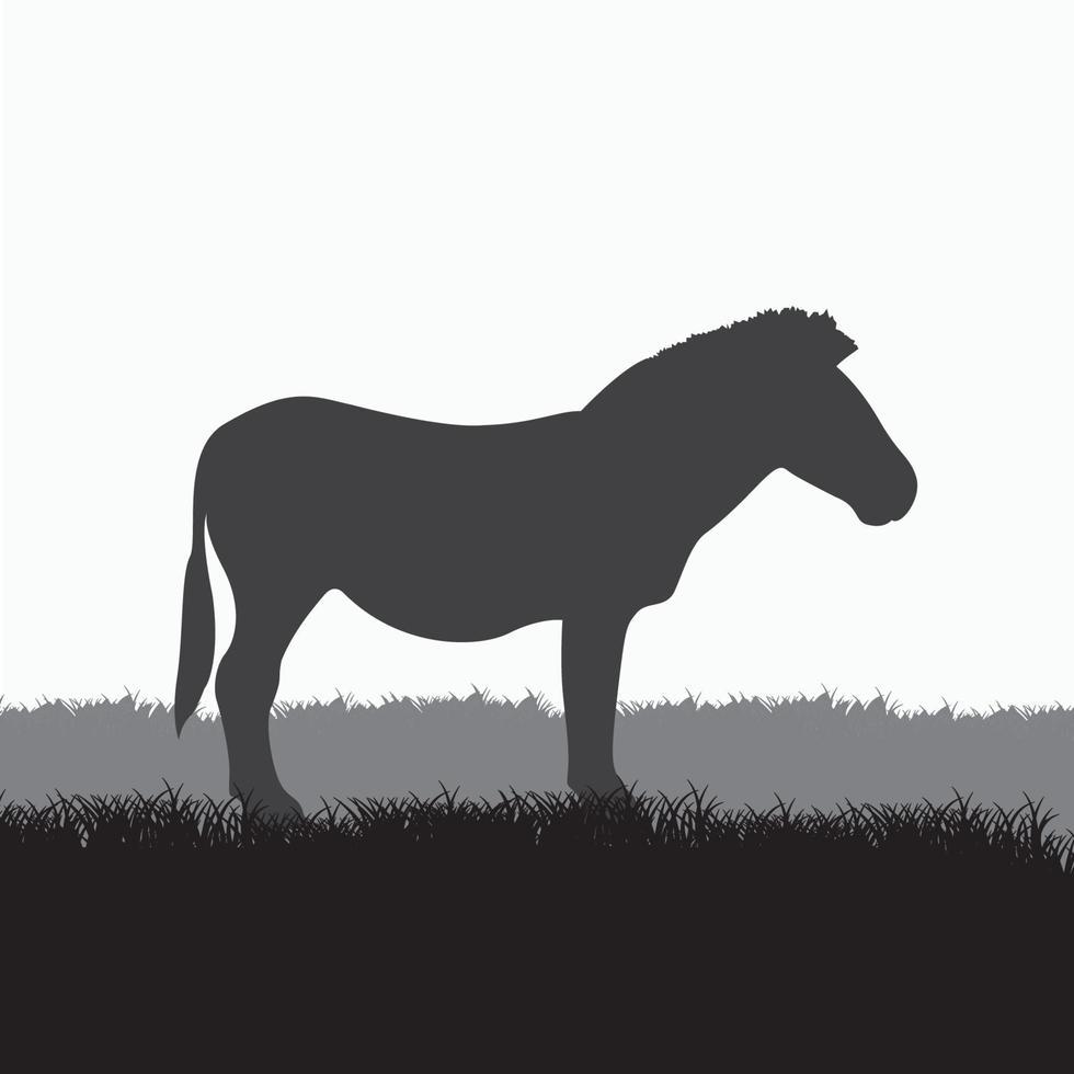svart silhuett av en stående zebra isolerat på en vit bakgrund vektor
