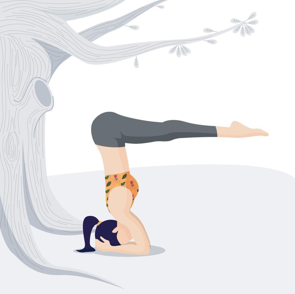 fitness koncept, hälsovård och aktiv sport. kvinnlig karaktär som tränar i öppet under trädet vektor