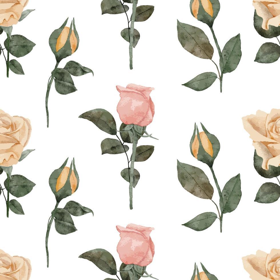 akvarell ros knopp sömlösa blommönster vektor