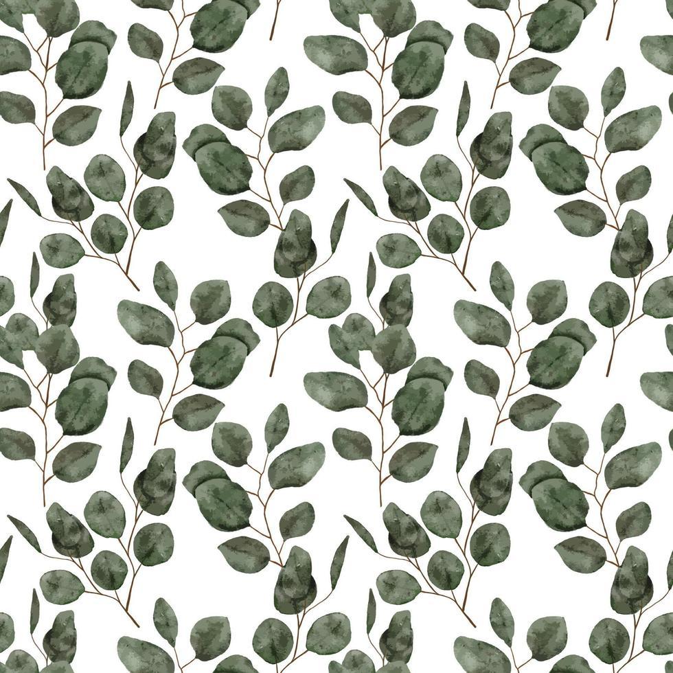 akvarell eukalyptus blad sömlösa mönster vektor