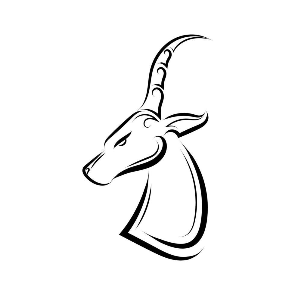 svartvita konturteckningar av impalahuvud. vektor