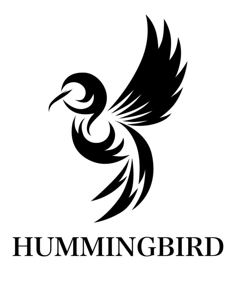 svart linje konst vektorillustration på en vit bakgrund av flygande kolibri. lämplig för att skapa logotyper vektor
