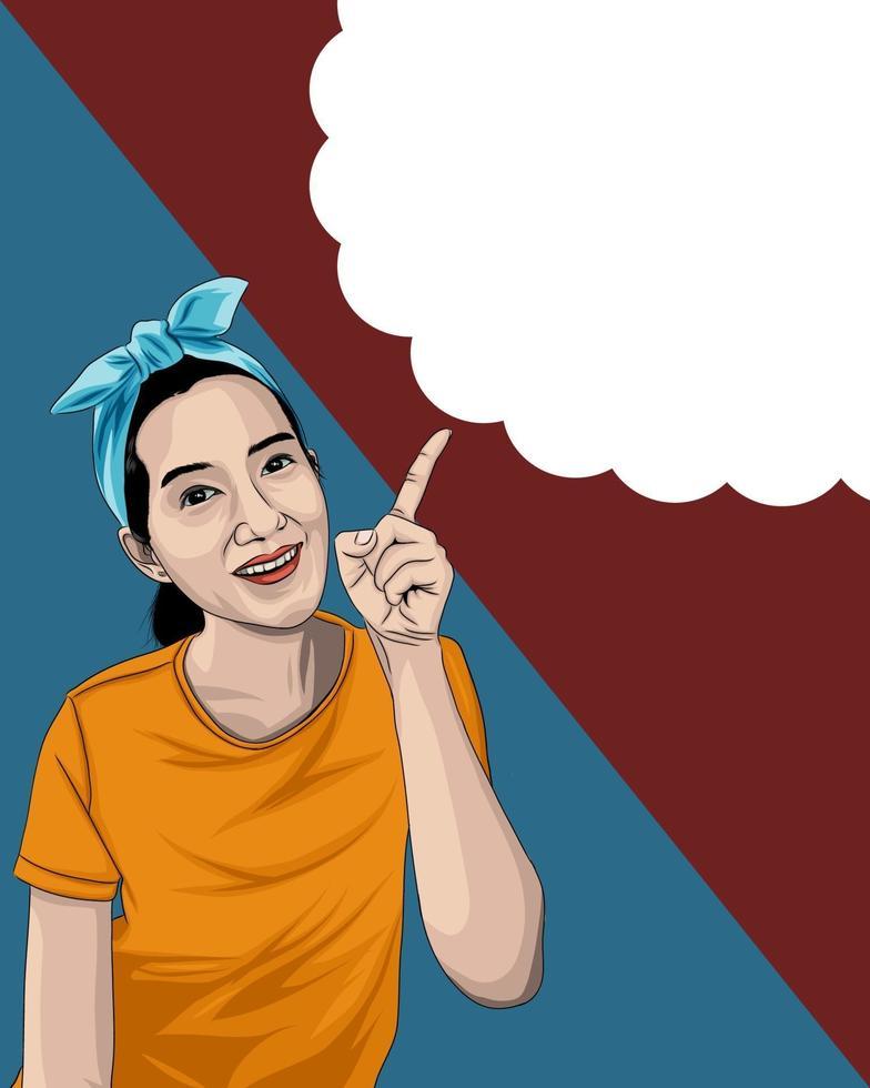 kvinna som pekar finger mot moln eps 10 vektor