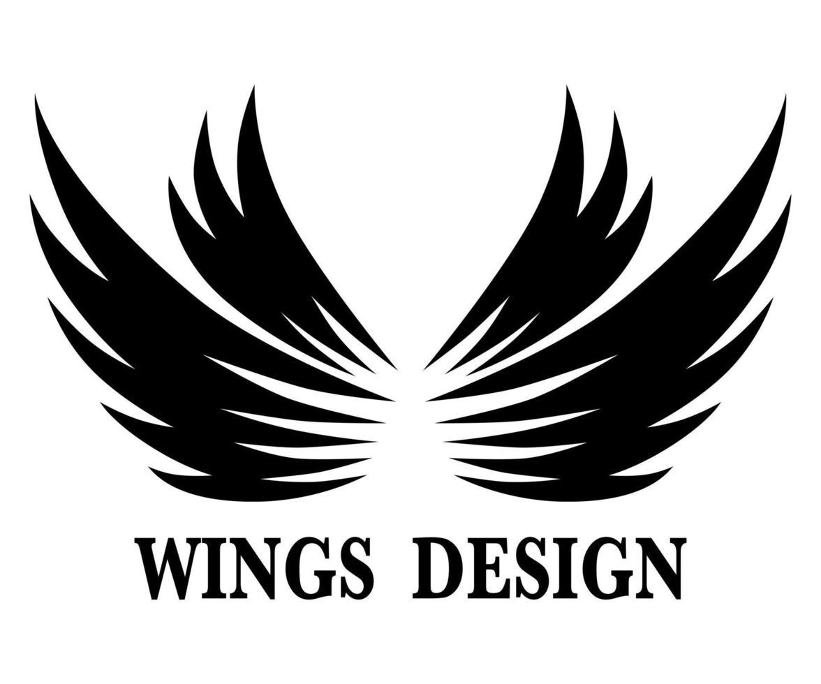 svart djur vinge logo design vektorillustration lämplig för branding eller symbol. vektor