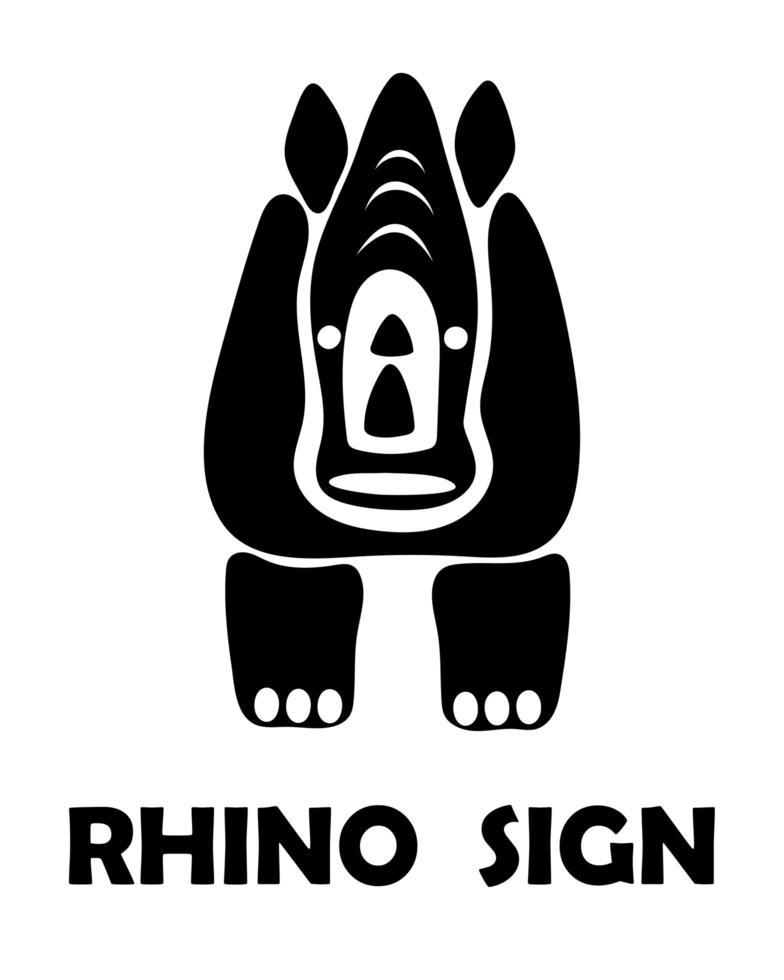 schwarze Vektorillustration auf einem weißen Hintergrund eines Nashornzeichens. geeignet für die Herstellung von Logo. vektor