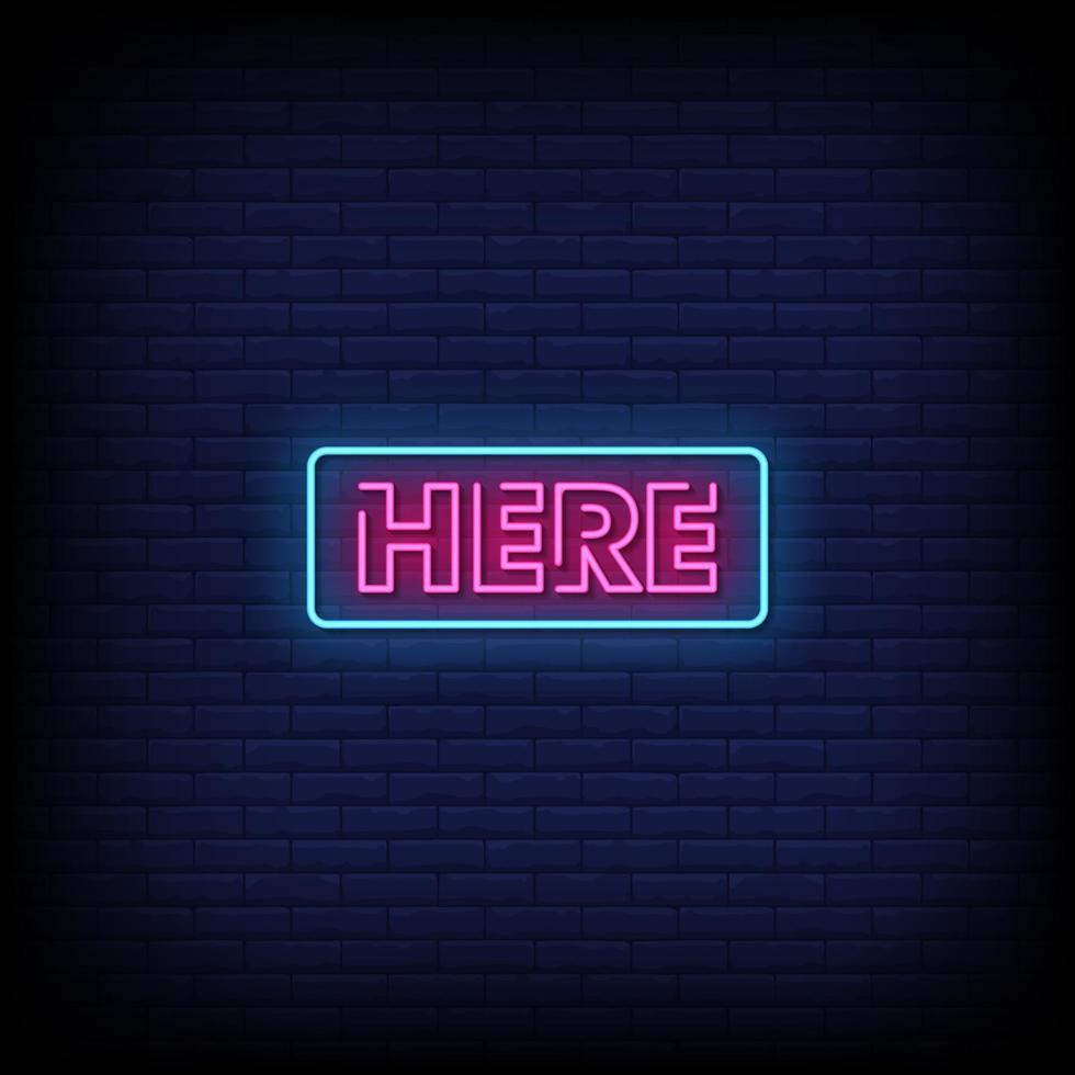här neonskyltar stil text vektor