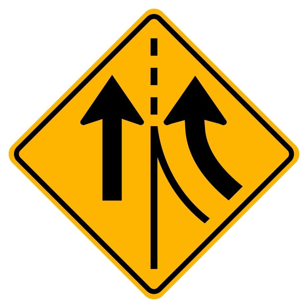 varningstrafikskylt som slår samman höger körfält vektor