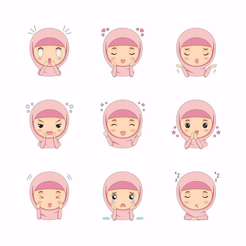 söt muslimsk tjej med olika ansiktsuttryck vektor