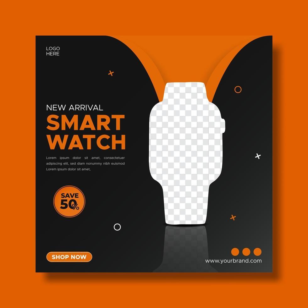mall för smartwatch-marknadsföring. försäljning och rabatt bakgrund. vektor
