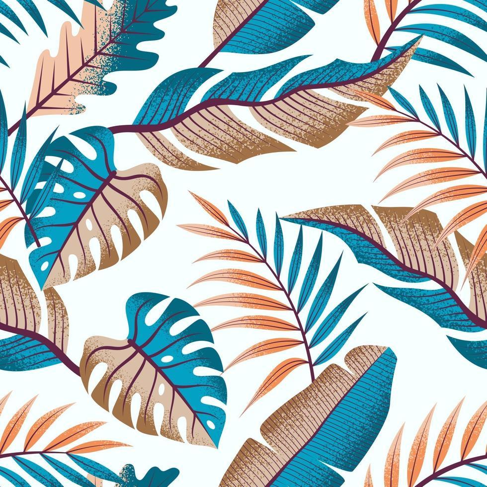 sömlöst tropiskt mönster med vackra blad på ljus bakgrund. vektor