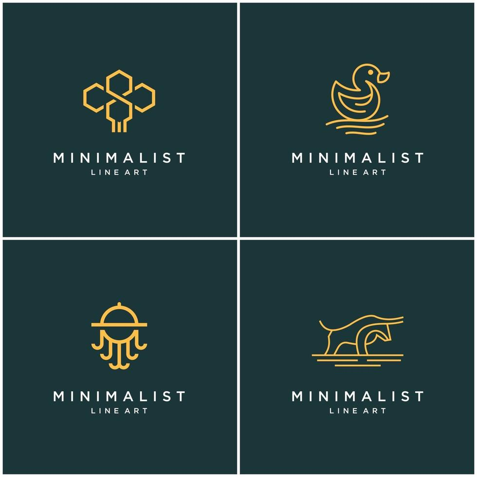 samling av minimalistiska djurlogotypdesignlinjer, bi, tjur, anka och bläckfisk. abstrakt vektor design logotyper.