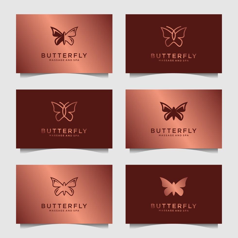 uppsättning lyx fjäril logotyp formgivningsmall. ikon för feminin logotyp, skönhetsspa, mode, hudvård, lotionprodukt. vektor