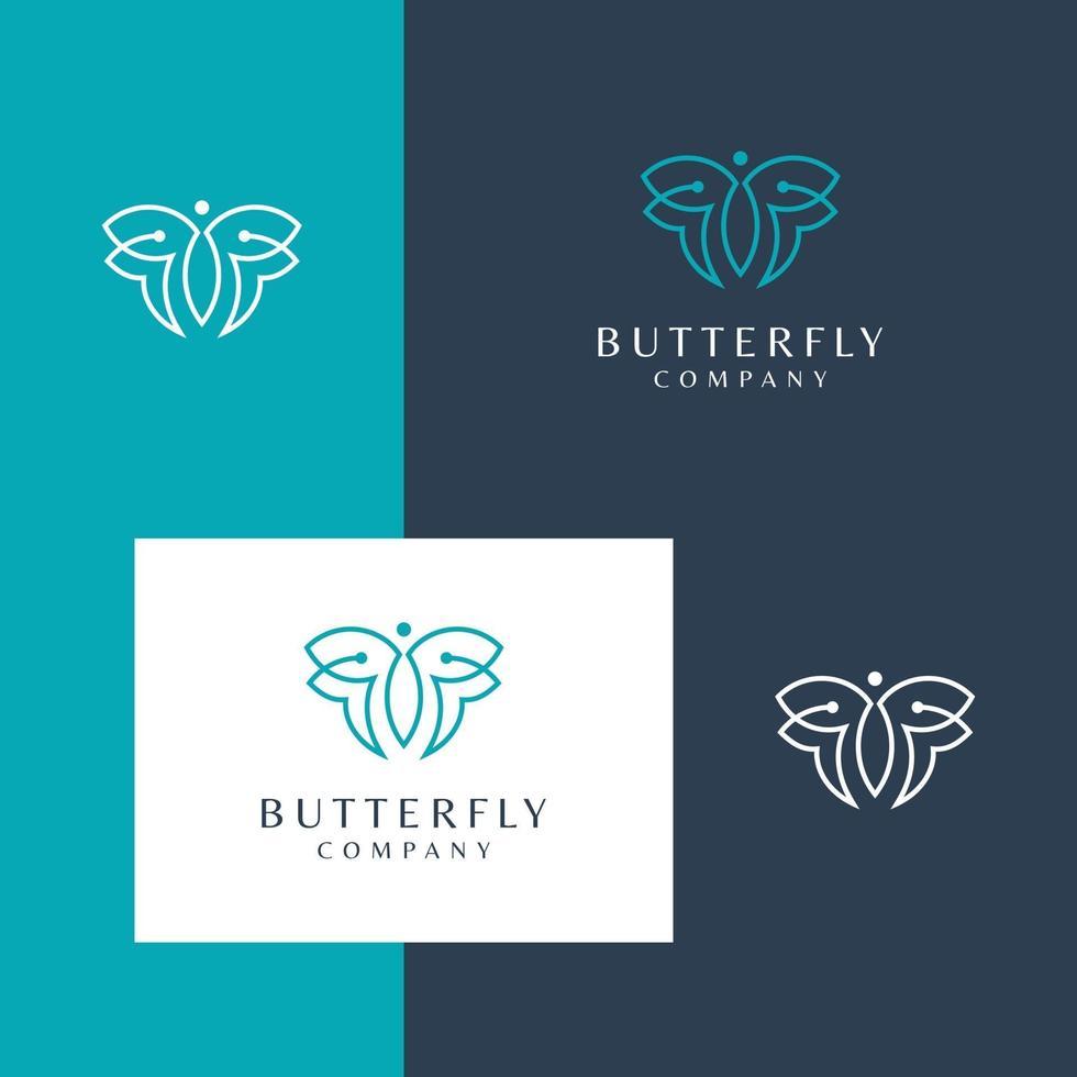 logotyp design fjäril vektor