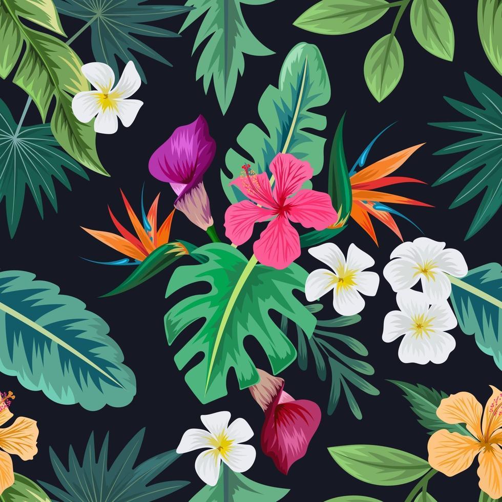 sömlösa mönster med vackra tropiska blommor och lämnar exotisk bakgrund. vektor