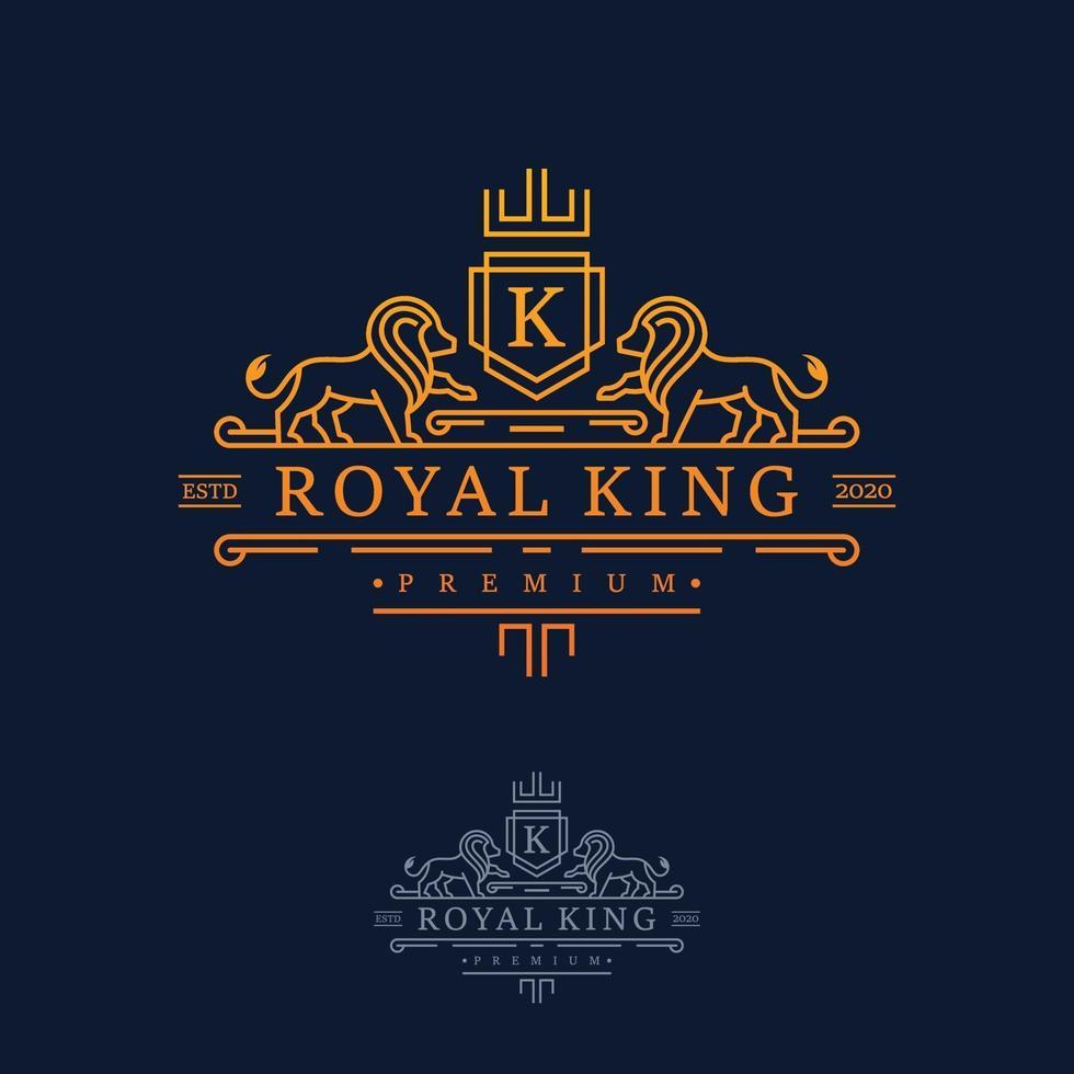 lyx kunglig kung lejon logo design inspiration vektor