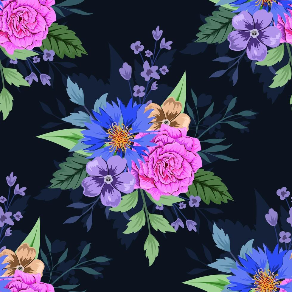 färgglada botaniska sömlösa blommönster på mörk bakgrund. vektor