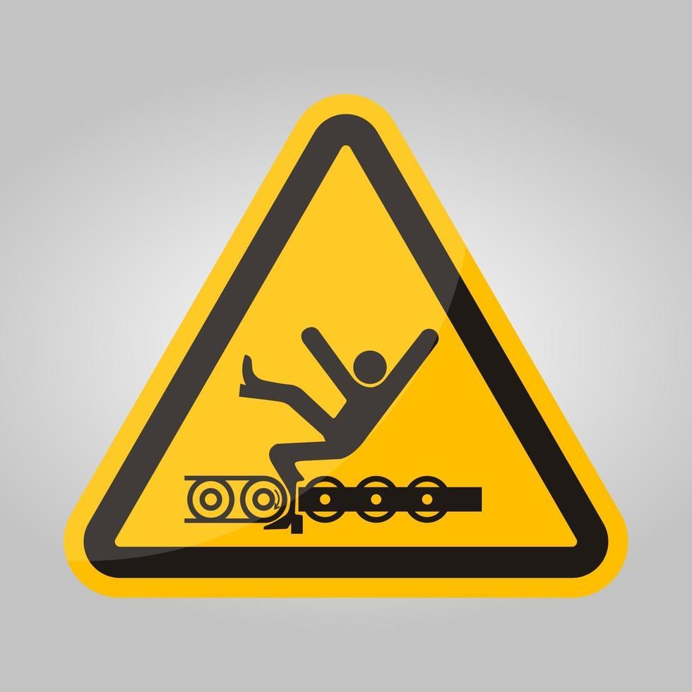 varning exponerad transportör och rörliga delar kommer att orsaka serviceskada eller dödsymbol tecken isolera på vit bakgrund, vektorillustration vektor